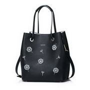 NUCELLE PU Leather 2016 New Dandelion Embroidery Series Shoulder Bag Black