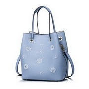 NUCELLE PU Leather 2016 New Dandelion Embroidery Series Shoulder Bag Blue