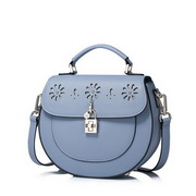 NUCELLE Top PU Leather 2017 Spring Sweet Hollow Flower Saddle Bag Blue
