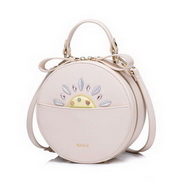 NUCELLE Top PU Leather 2017 New Modern Sunflower Round Bag Pink