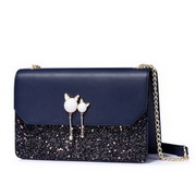NUCELLE Top PU Leather 2018 New Fair Lady Pear Tassel Cube Bag Deep Blue