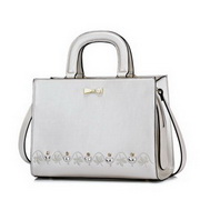 NUCELLE Top PU 2017 New Fashion Sweet Lace Embroidery Handbag Pearl White