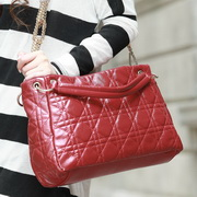 Elegance diamond lattice  bag Red