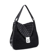 PU women shoulder bag Black