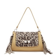 Leopard match PU leahter tote bag Yellow