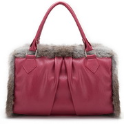 Rabitt fur PU tote bag Red