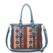 Wool contrast color handbag Blue