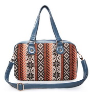 Wool contrast color tote bag Blue