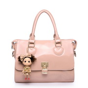 Cute cartoon patent leather handbag Pink