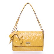 Butterfly Series patent leather shoulder bag yellow