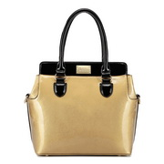 Fashion contrast color women handbag  Gold