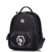 JUST STAR PU Leather Magic Mirror Girl Series Backpack Black