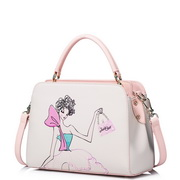 JUST STAR PU Leather 2016 Newest Cartoon Shoulder Bag White