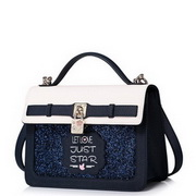 JUST STAR PU Leather Lovely Girl Casual Style Messenger Bag Blue