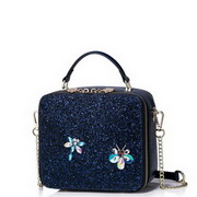 JUST STAR PU Leather 2019 Summer Shinning Decoration Cute Bag Blue
