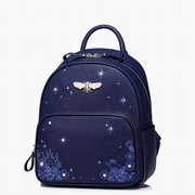 JUST STAR PU Leather 2016 Autumn New Romatic Starry Sky Backpack Blue