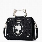 JUST STAR PU Leather 2016 Hot Selling Cat Metal Handle Bag Black