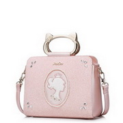 JUST STAR PU Leather 2016 Hot Selling Cat Metal Handle Bag Pink