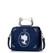JUST STAR PU Leather 2016 Hot Selling Cat Metal Handle Bag Blue