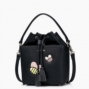 JUST STAR PU Leather 2016 Adorable Honeybee Drawstring Bucket Bag Black