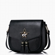 JUST STAR PU Leather 2016 New Lovely Cute Star Saddle Bag Black