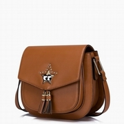 JUST STAR PU Leather 2016 New Lovely Cute Star Saddle Bag Brown