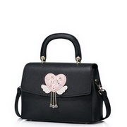 JUST STAR PU Leather 2016 Sweet Style Flower Decoration Shoulder Bag Black