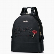 JUST STAR PU Leather 2016 Special Lipstick Series Sweet Backpack Black