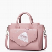 JUST STAR PU Leather 2016 New Winter Sweet Lace Dress Wing Series Bag Pink