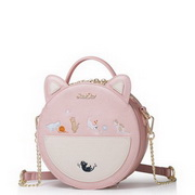 JUST STAR 2017 New Vivid Contrast Color Lovely Cat Round Shoulder Bag Pink