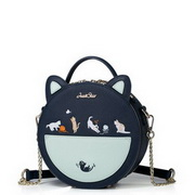 JUST STAR 2017 New Vivid Contrast Color Lovely Cat Round Shoulder Bag Blue
