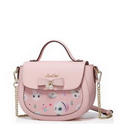 JUST STAR PU Leather 2017 New Hot Selling Cute Pet Design Saddle Bag Pink