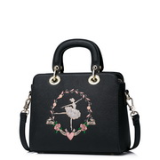 JUST STAR PU Leather 2017 Spring New Embroidery Shoulder Bag Black