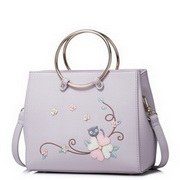 JUST STAR 2017 New Spring Sweet Flower Cat Embroidery Shoulder Bag Purple