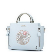 JUST STAR PU Leather 2017 Hot Rose Embroidery Handbag Light Blue