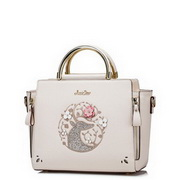 JUST STAR PU Leather 2017 Hot Rose Embroidery Handbag White