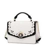 JUST STAR Top PU 2017 New Elegant Lady Hollow Design Shuoulder Bag Black