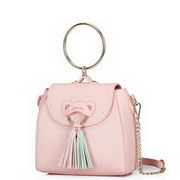 JUST STAR PU 2017 New Season Colorful Tassel  Lovely Girl Handbag Pink