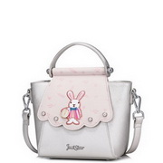 JUST STAR PU 2017 Fashionable Sweet Rabbit Embroidery Handbag Silver