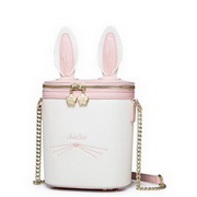 JUST STAR PU Leather 2017 Special Cute Rabbit Barrel-type Bag White