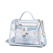 JUST STAR PU 2018 Specail Design Jelly Transparent Bag Blue