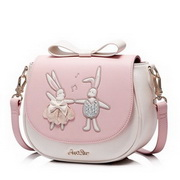 JUST STAR PU Leather 2017 New Summer Cute Dancing Rabbit Saddler Bag Pink