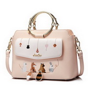JUST STAR PU Leather 2017 New Lovely Pets Embroidery Series Handbag Soft Pink