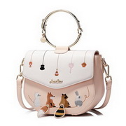 JUST STAR PU Leather 2017 New Lovely Pets Embroidery Series Crossbody Bag Soft Pink