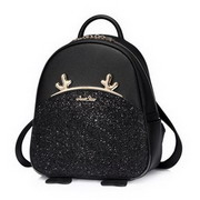 JUST STAR PU 2017 New Happy Deer Series School Backpack Black