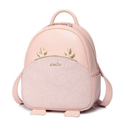 JUST STAR PU 2018 New Happy Deer Series School Backpack Pink