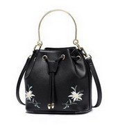 JUST STAR PU Leather 2017 New Beautiful Embroidery Bucket Bag Black