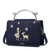 JUST STAR PU Leather 2017 New Delicate Embroidery Cube Bag Blue
