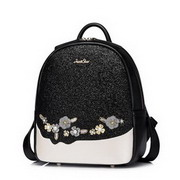 JUST STAR PU Leather 2017 New Special Shining Embroidey Backpack Black