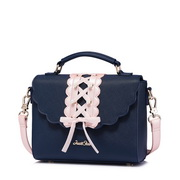 JUST STAR PU 2017 New Pink Lace Sweet Shoulder Bag Blue